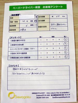 江東区(20代女性)ペーパードライバー講習アンケート