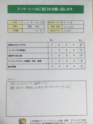 大田区(20代男性)ペーパードライバー講習アンケート