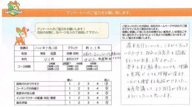 世田谷区 40代女性 お客様アンケート