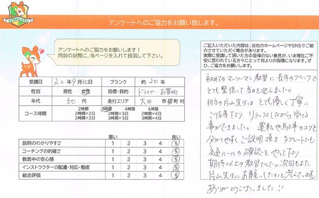 大田区(50代女性)ペーパードライバー講習アンケート