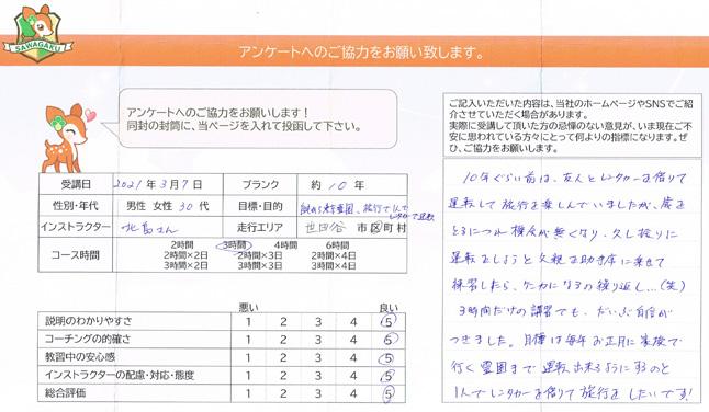 世田谷区 30代女性 ペーパードライバー講習アンケート