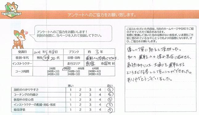 新宿区 20代女性 ペーパードライバー講習アンケート